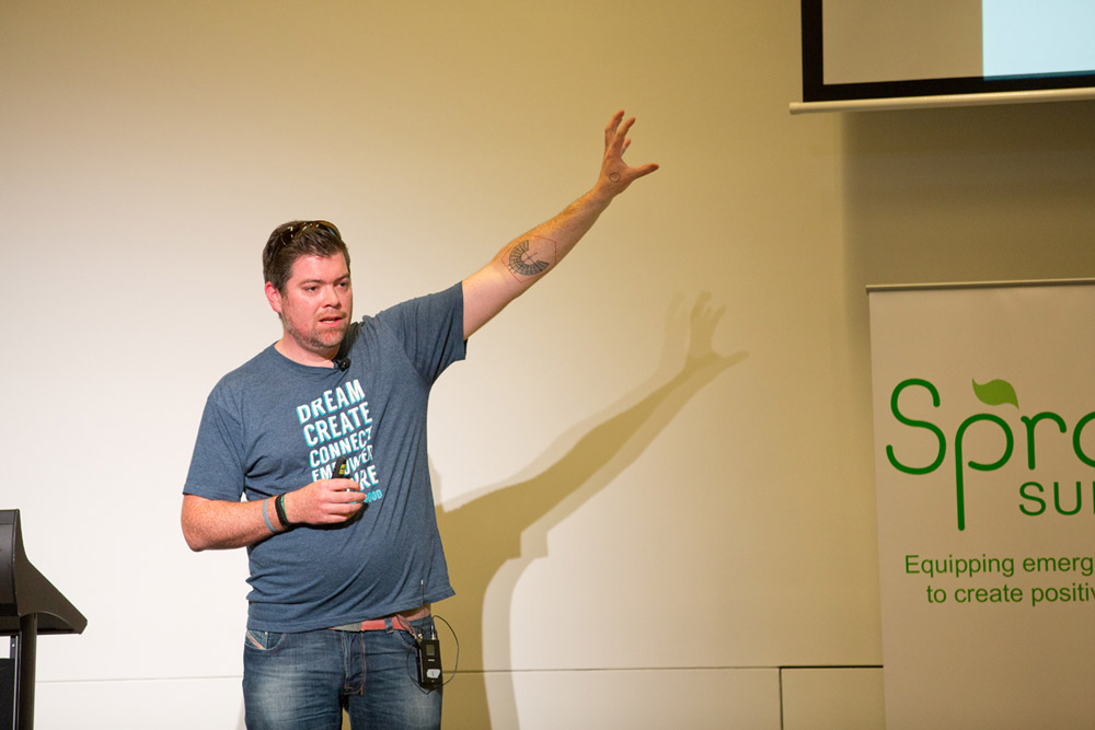 Tom speaking at Sprout Summit.