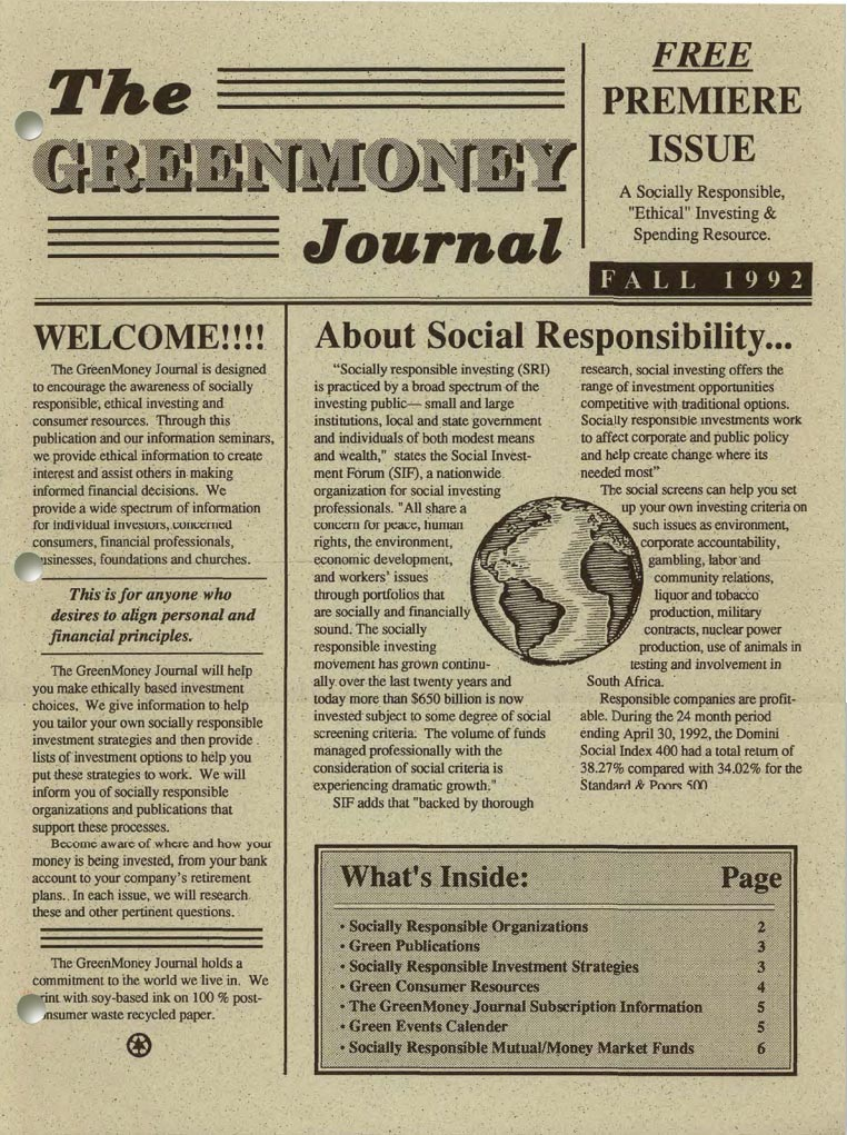 The first GreenMoney Journal from 1992.