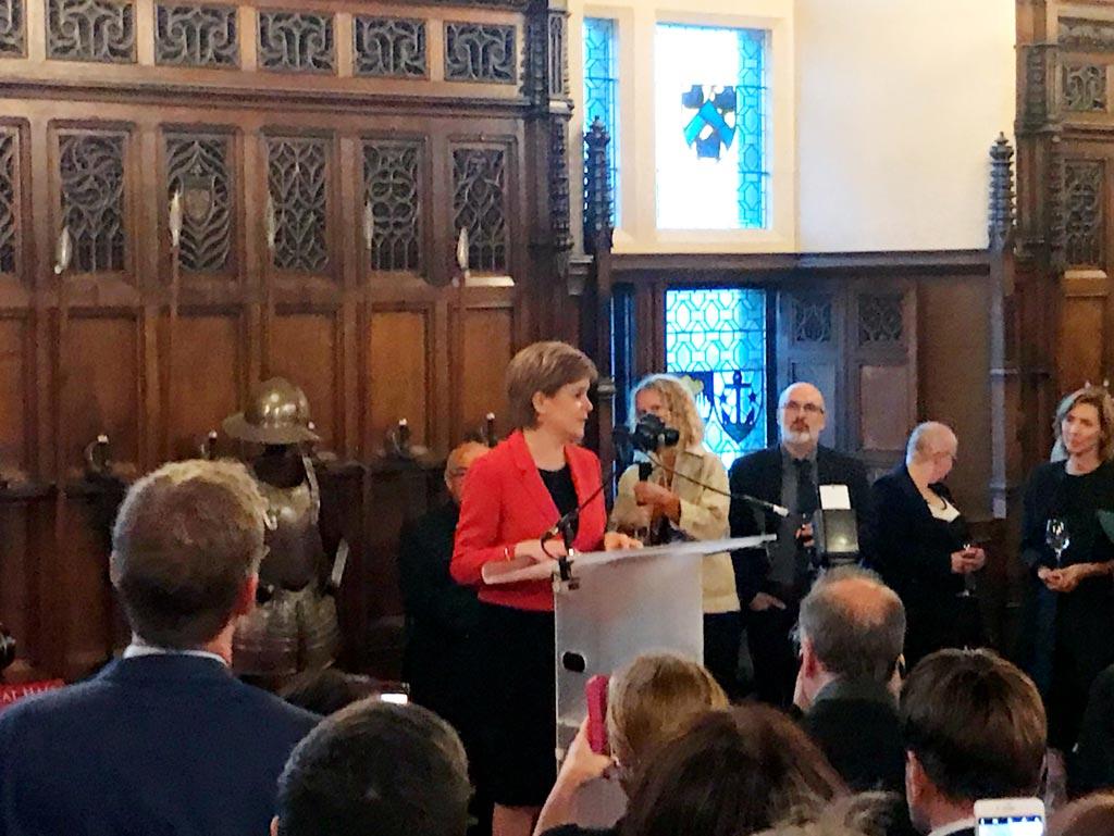 First Minister Nicola Sturgeon speaking at Edinburgh Castle during SEWF.