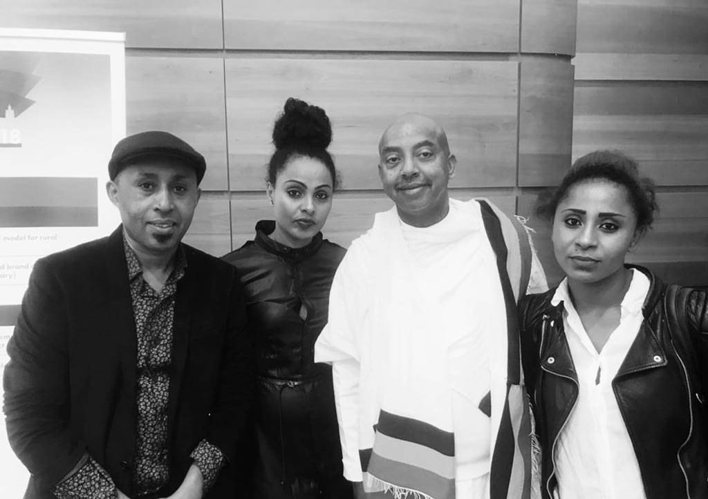 Adenew Mesfin (pictured in white), with other members of the Ethiopian delegation at SEWF '18.