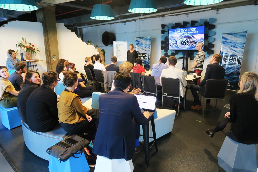 Eco Games pitching during the  Elevate+  Accelerator.