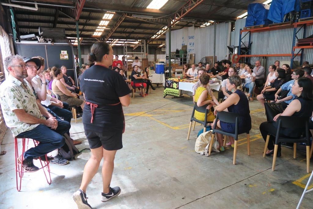 Yarraka Bayles sharing First Nations knowledge at Food Connect during the Brisbane Social Enterprise Tour.