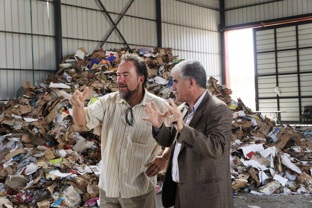 Eric providing advice at a recycling facility in the West Bank (Palestine).
