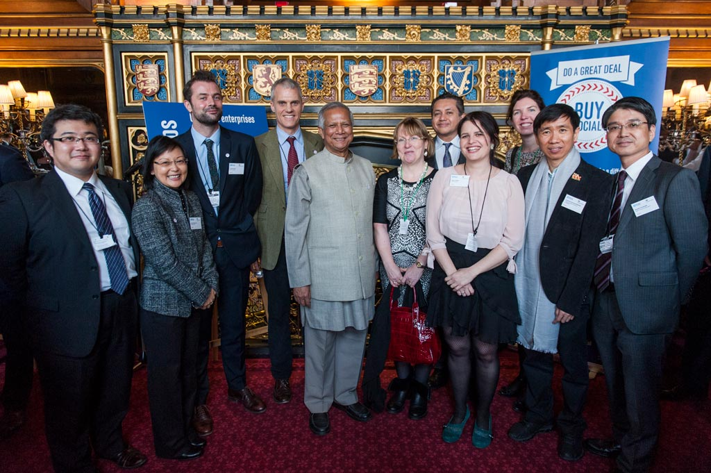 An international policy delegation in the Palace of Westminster with Muhammad Yunus.