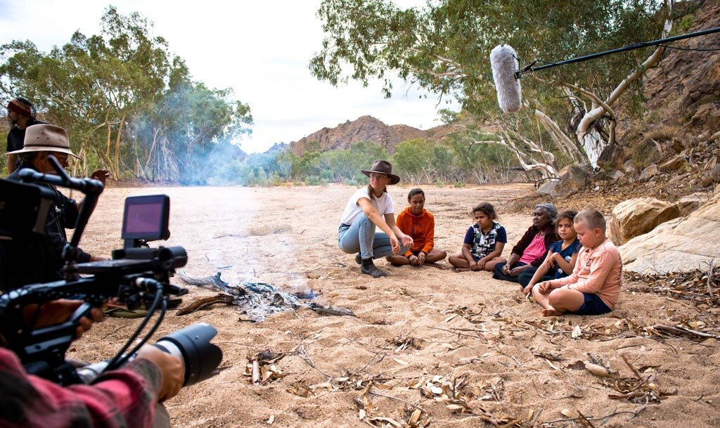 Rona and Easter Arrernte storyteller Kathleen Wallace filming with children for the First Nations Bedtime Stories Project.