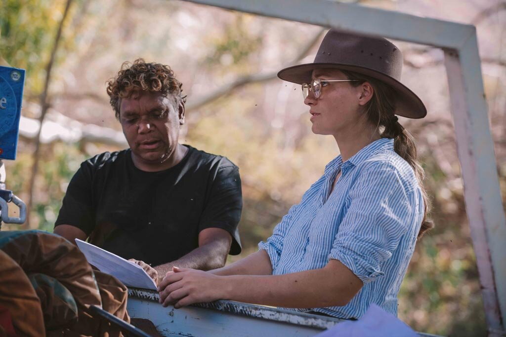 Rona working with Garrard Anderson to record the One Eyed Rainbow Serpent Story.