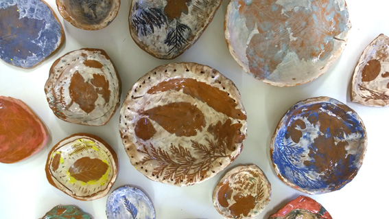 Autumn bowls. Made by students ages 7 - 13 at The Downs, Malvern.