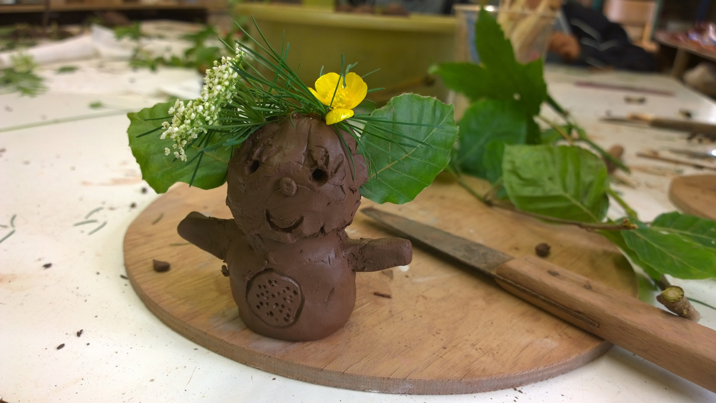 Magical creatures, made from clay and foraged woodland materials.