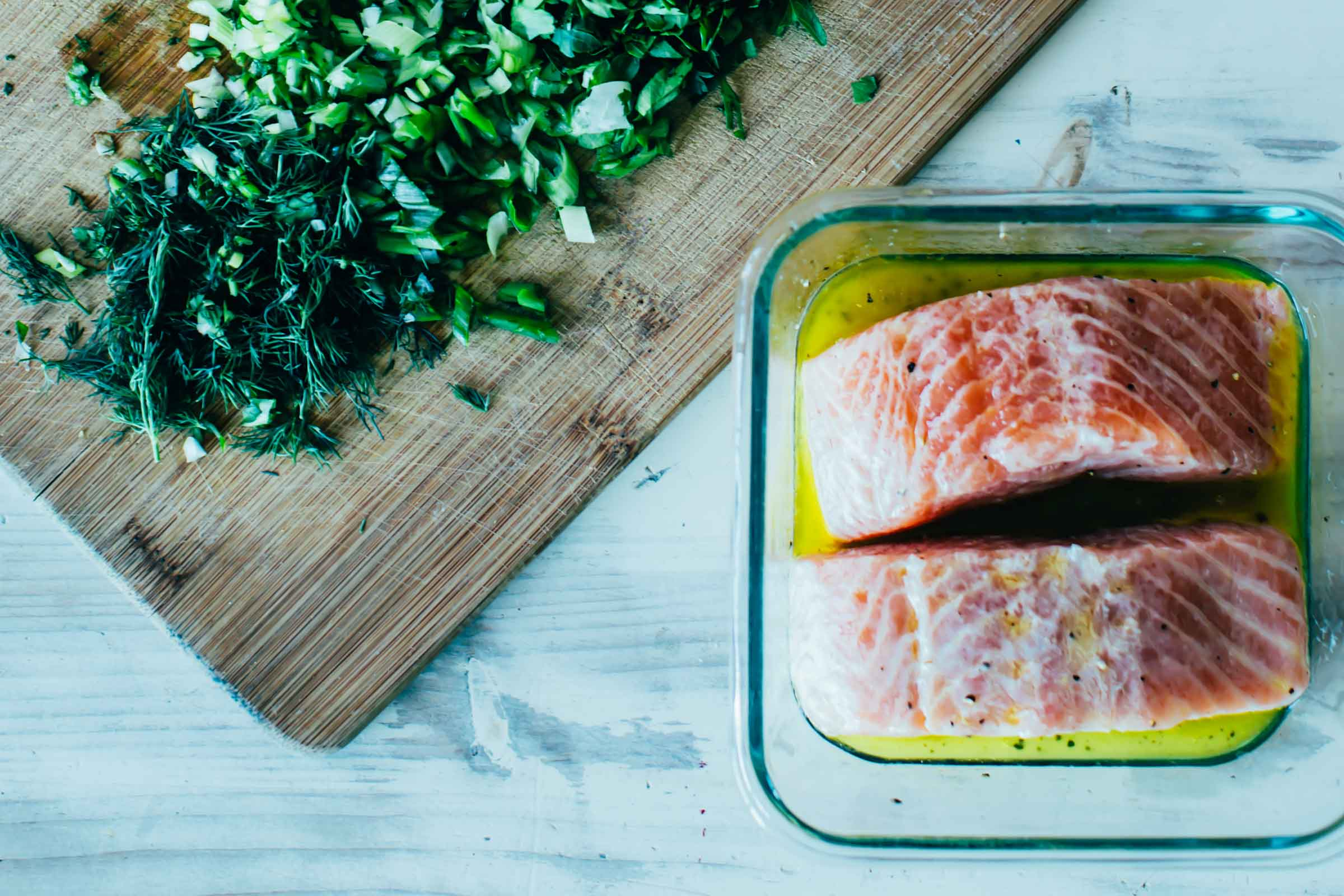herb roasted salmon makings