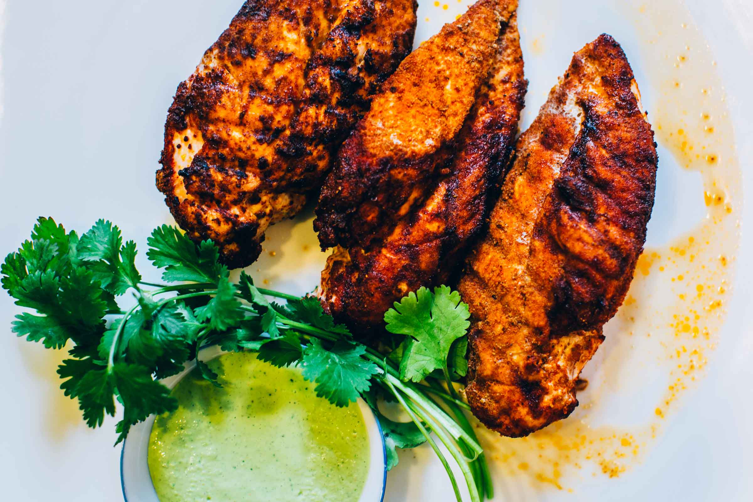 grilled zesty chicken with cilantro vegan ranch dipping sauce