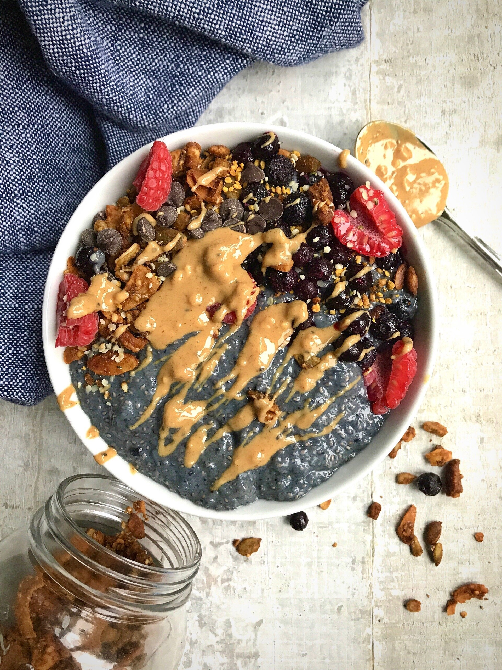 Boosted paleo almond version topped with frozen blueberries, homemade  Paleo Pumpkin Spice Granola , raspberries, sugar-free chocolate chips, hemp hearts,  Beekeeper's Naturals  pollen, and Fatso Salted Caramel Peanut Butter (omit for paleo).