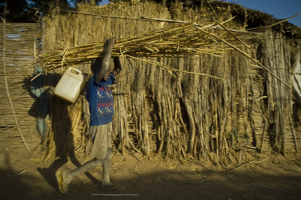 Sunset in a street of Djabal camp. A young boy goes back home carrying home bamboos to make seko wall in his family compound. A seko is a makeshift wall (like the one behind him) that usually marked the boundary of an household compound. Created on 4 june 2004, Djabal camp sheltered 17.766 persons and 4.681 families in december 2011. It is located 4 kilometers west from Goz Beida, 217 kilometers south from Abeche, 900 kilometers east from N'Djamena the capital and 80 kilometers from the sudanese border.