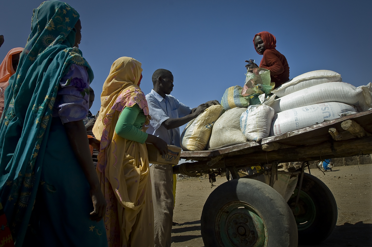 Food distribution day in Treguine. The refugees get Corn Soya Blend (CSB) i.e. enriched flour with oil and soya, cereal (sorghum, wheat), oil, sugar, salt and soap. The quantity depends on the size of the family. For instance, each person gets 12,75 kg of cereal a month. A young refugee perched on wheat bags collected for several families of the same area, goes back home in a donkey cart. The carts are rented for vulnerable refugees by UNHCR, as a free service or by refugees themselves who will pay the cart's owner with cereal. Treguine camp (18 746 refugees on 30 september 2011), 23 kilometers south from Farchana, 120 kilometers east from Abeche, 72 kilometers from the sudanese border, was opened in september 2004.