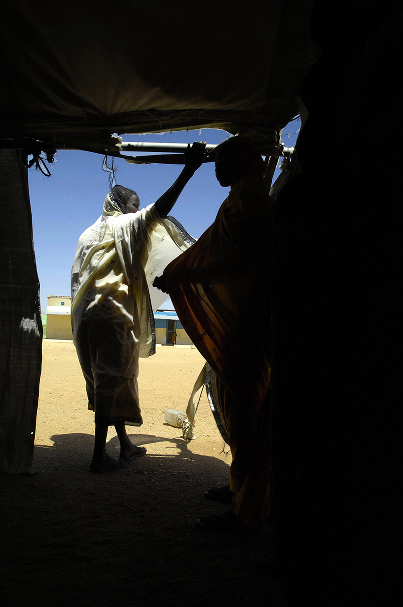 Entrance of a tent for health care in the medical center of Kounoungo refugee camp in Chad.