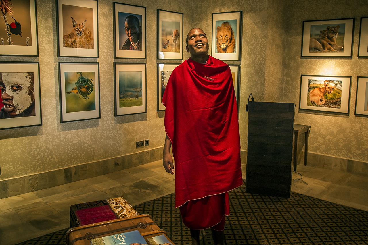 A Masai employee, in a lounge area of he Serengeti Four Seasons Safari Lodge, a luxurious resort north of Seronera.