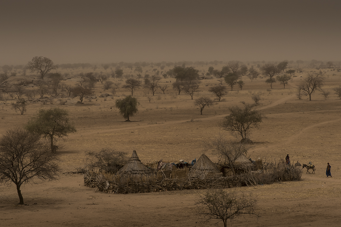 Assoungha District, Ouaddaï region. A typical family housing in the chadian bush between the city of Hadjer Hadid and the village of Ourkoulong.