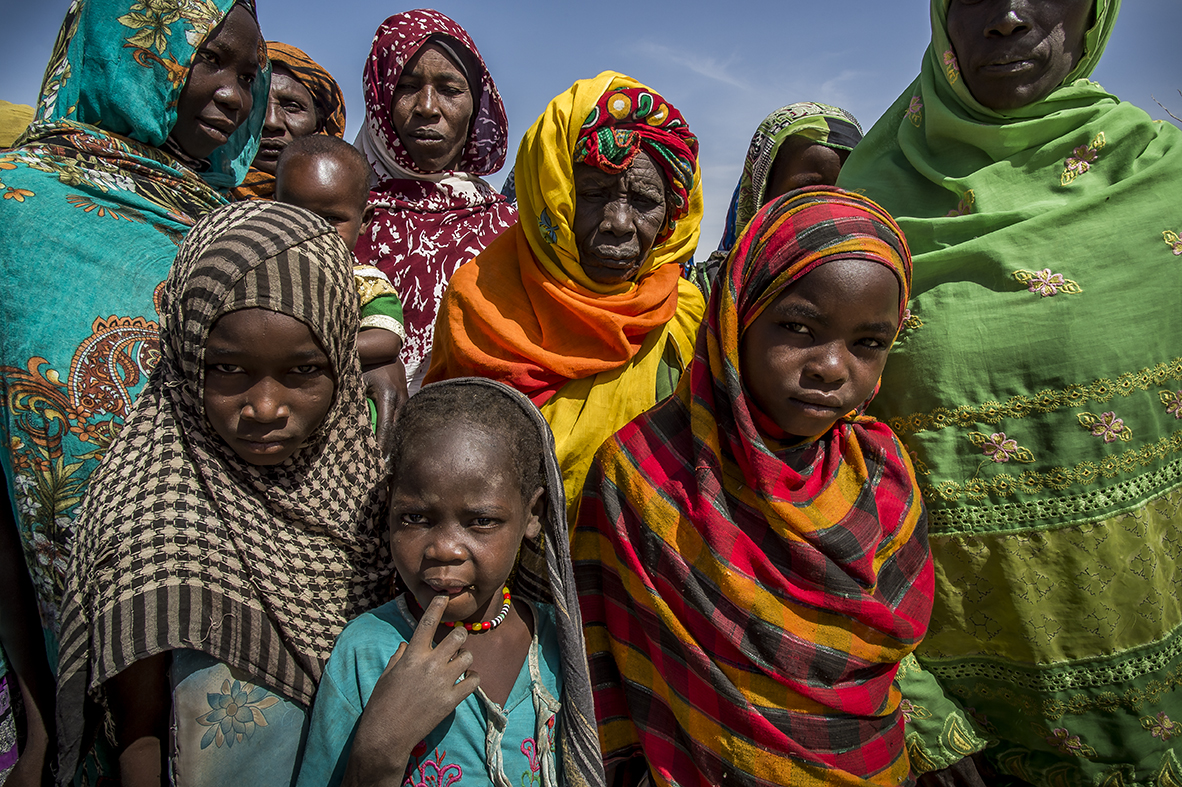 In Malanga, a village located 70 kilometers north of Abeche,. Women gather outside of Fatouma Ahmat's house to take part in an information meeting about malnutrition.