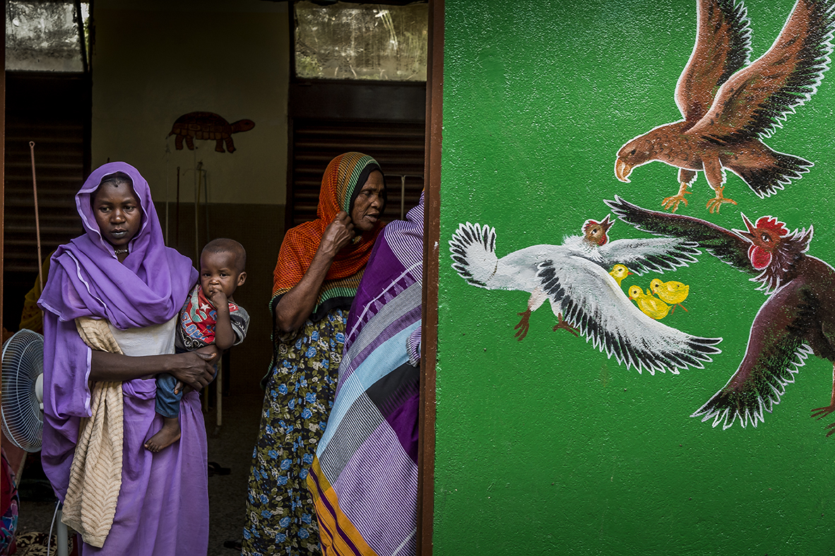Regional hospital of Abeche, Ouara district. The interior yard of the Pediatric Section. On a newly painted wall a symbolic picture : a chicken and a rooster protecting their chick from an attacking bird of prey.