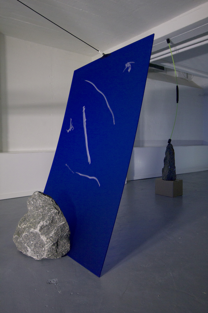 - endobject (in between), shelf system, stone, concrete, plexiglass, string and iron fitting