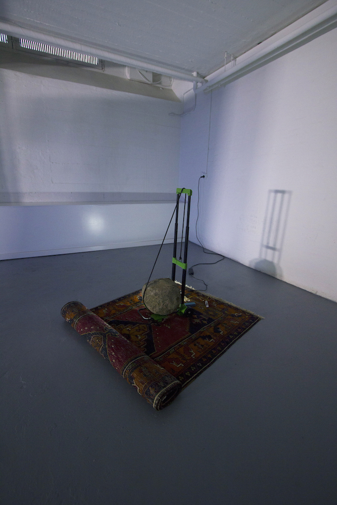 - the stone of the earth (takeaway), carpet, cold cathode light, rock and trolley