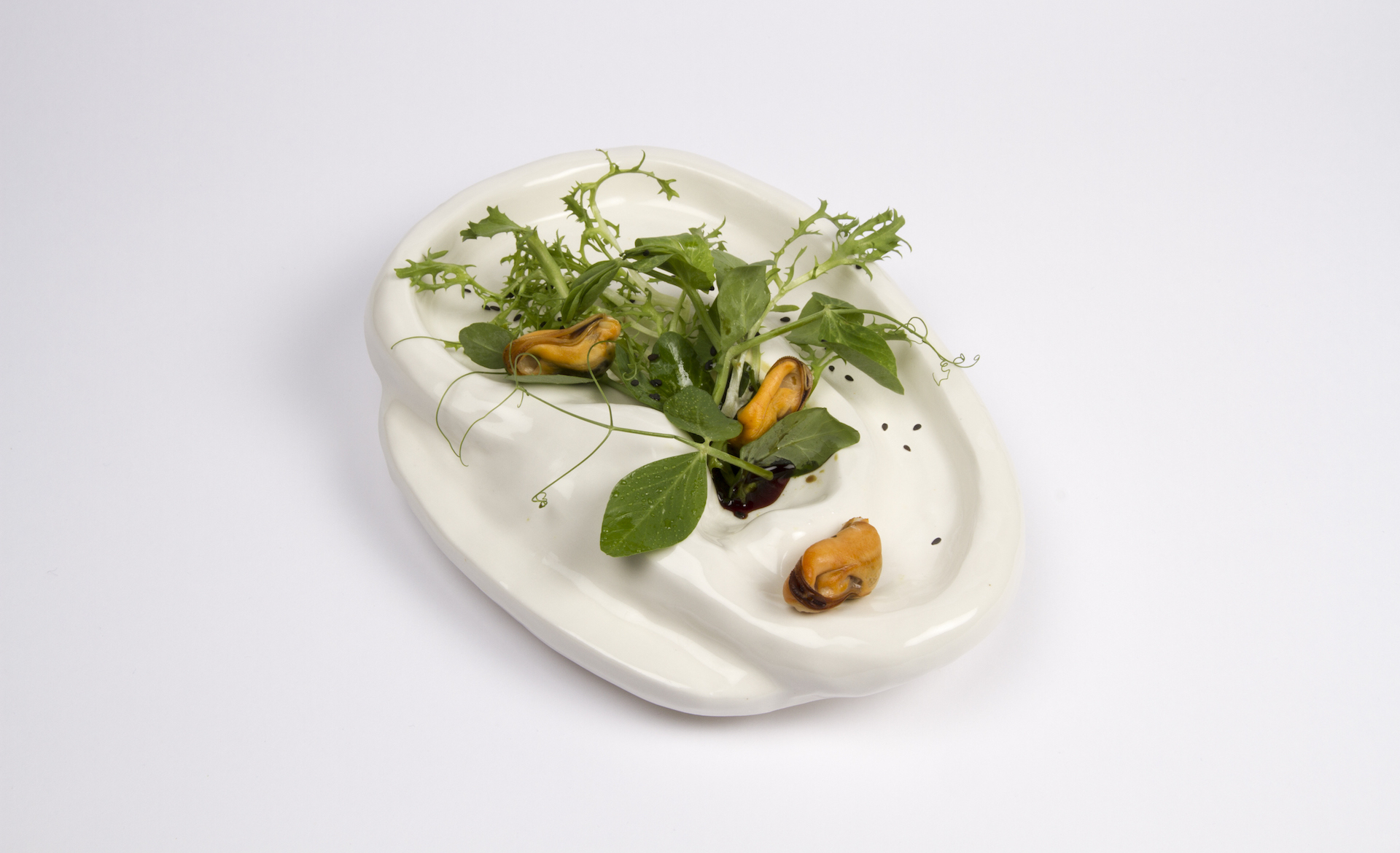 Soft and Easy Pleasure (Ear Salad)   Mussels, pea sprouts, frisée lettuce, pumpkinseed oil, lemon, vinegar, porcelain