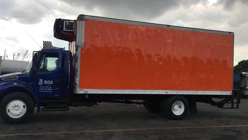 BOS Cargo Dry Van truck in Miami.
