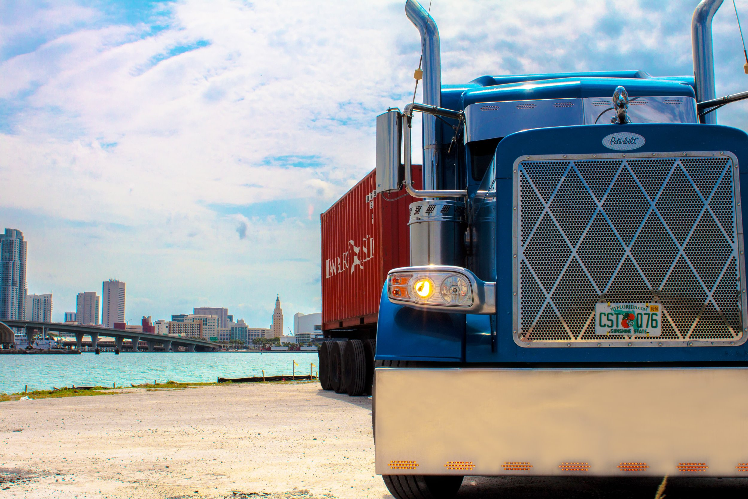 BOS Transport Truck with the view of Miami.