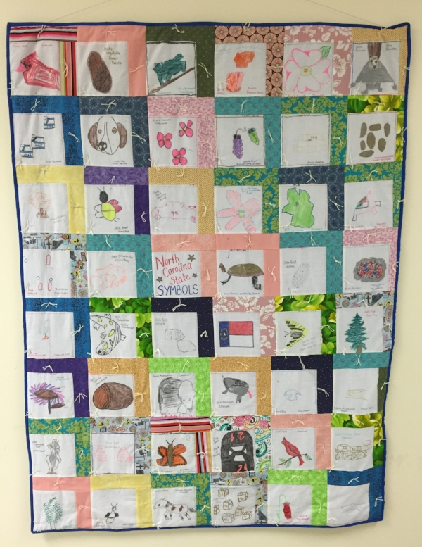 KayLynn Design Artist-in-Residence Program, Class Quilt inspired by NC State History made by 4th Grade students in Roxboro, NC