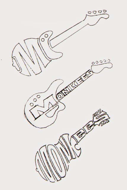 Rough and ready: LoBianco's early sketches for the Monkees' logo, with the third route almost there.