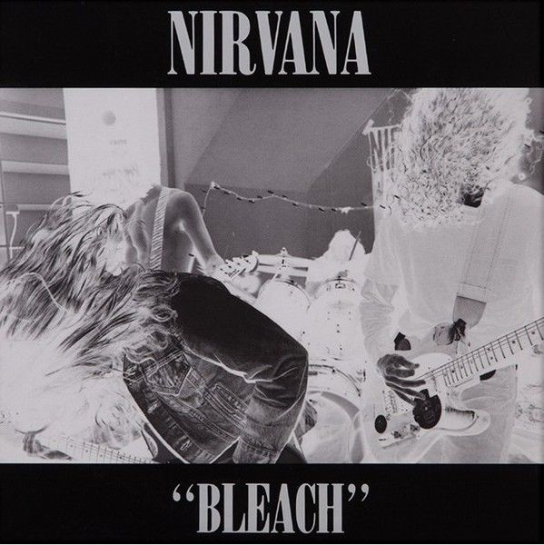 "White out: ""Bleach"" (1989) witnessed the first sighting of Nirvana's Onyx logotype. Art direction: Lisa Orth. Photo: Tracy Marander (Cobain's then girlfriend)."