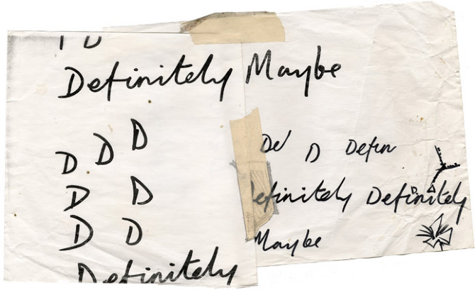 The write stuff: tentative scribbles that led to the hand-written titling on 1994's 'Definitely Maybe' album.