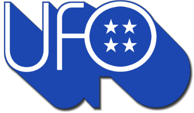 Stars and bars: The original UFO logo appeared on their first album 'UFO 1' in 1970, and was decommissioned in 1975. Designer unknown.