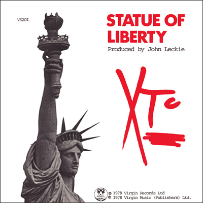 In the red: prominent logo action on XTC's extremely catchy 1979 single 'Statue of Liberty'. It was banned by the BBC for a cheeky lyric that made reference to 'upskirting' the New York landmark.