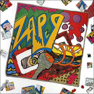 First and foremost: Ronald Stozo Edwards' logo takes centre stage on Zapp's eponymous debut LP, released in 1980. The smaller thumbnail drawings around the side are Overton Loyd's.