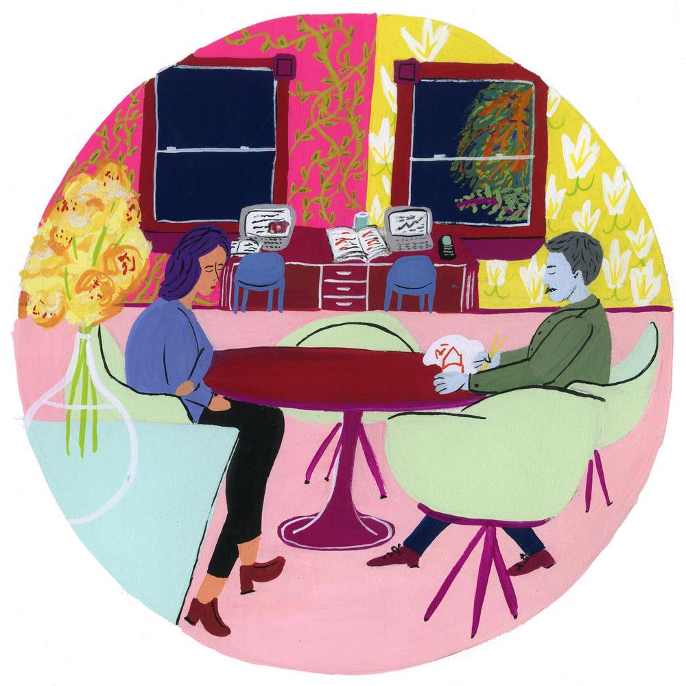 Couple Silence Dining Table Gouache Painting.jpg