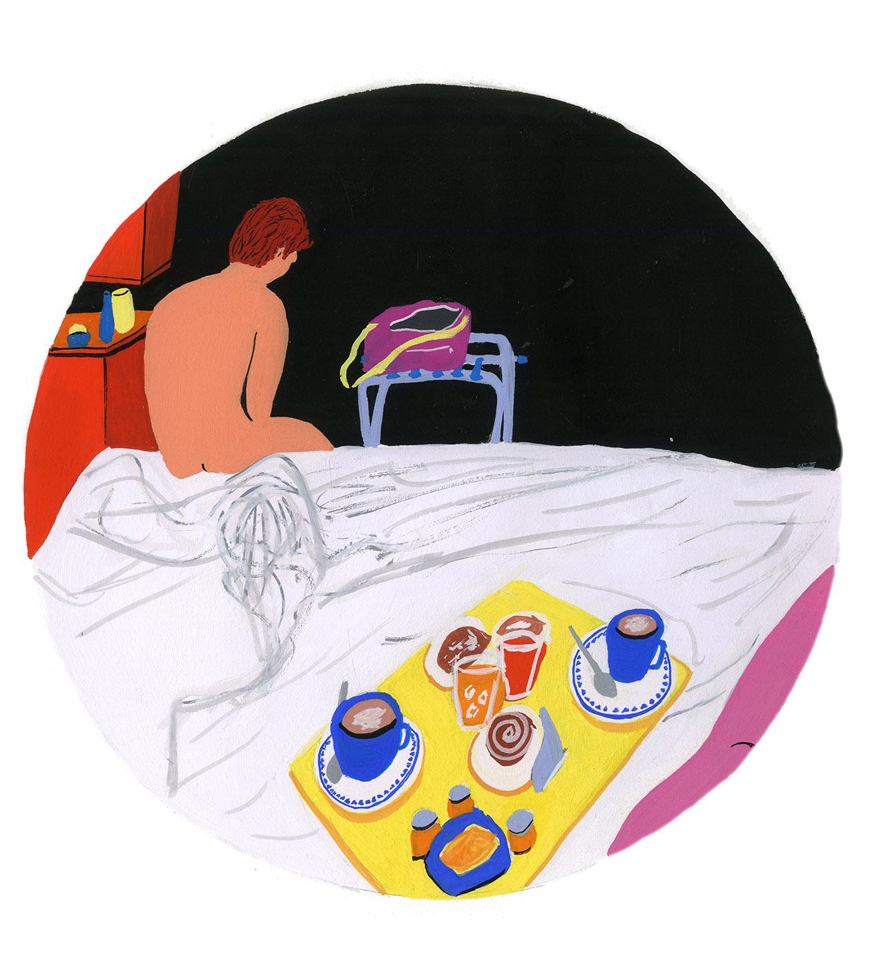 Naked Man Breakfast in Bed Gouache Illustration.jpg