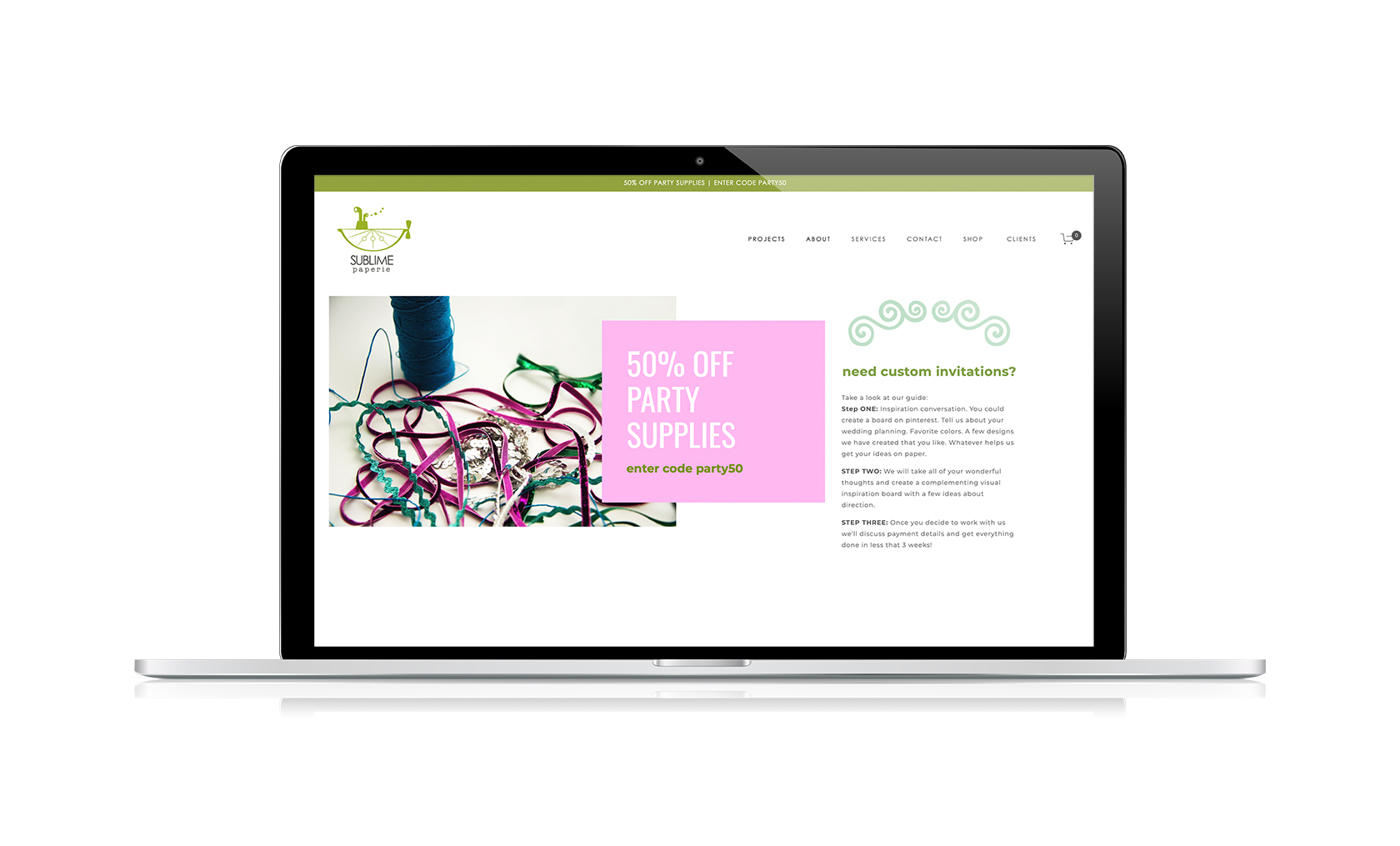 sublime paperie website design
