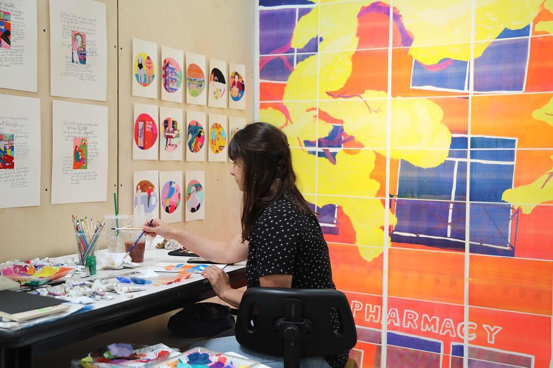 Alexandria Canchola painting at  Otis College of Art & Design,  LA Summer Arts Residency