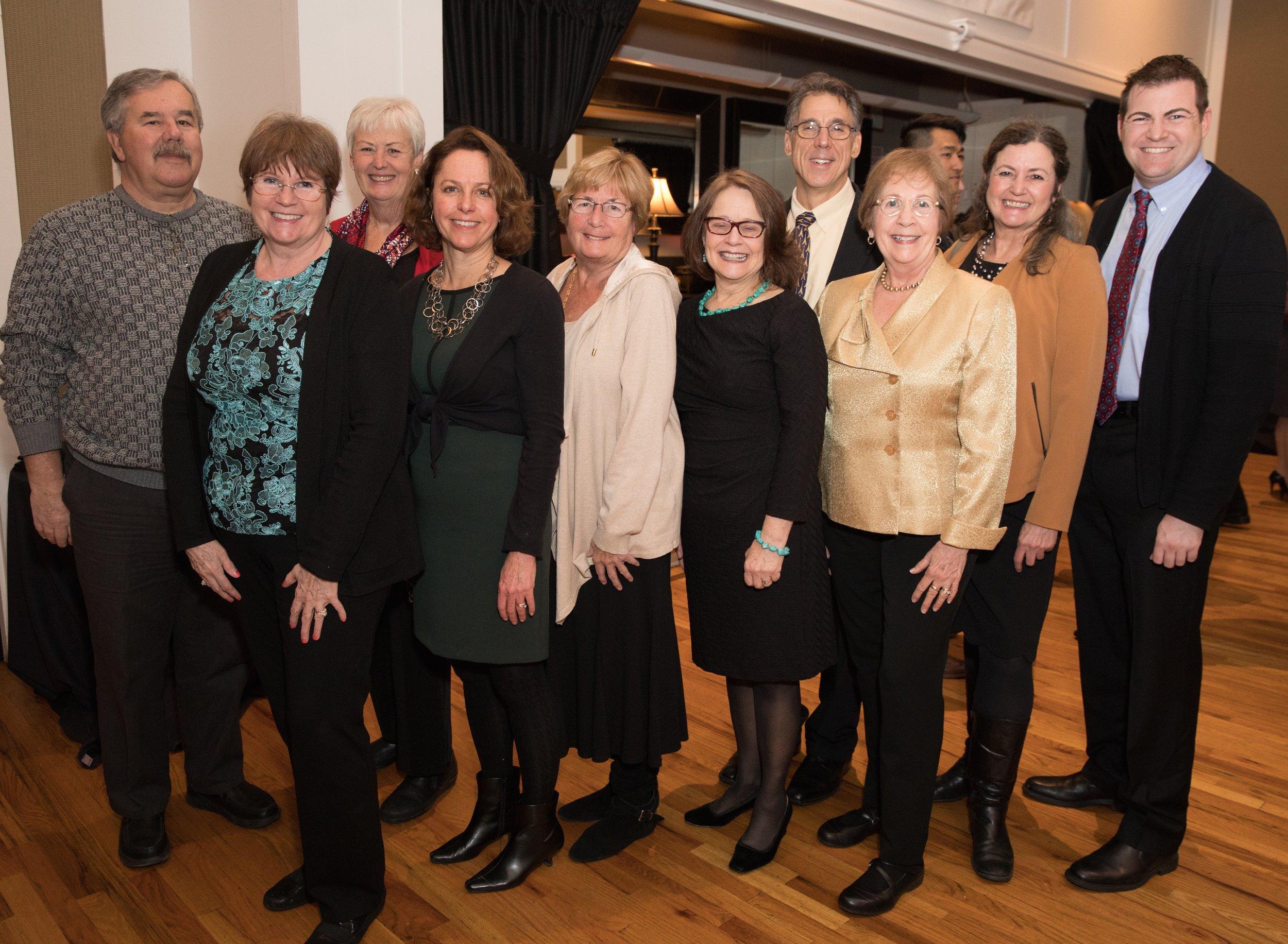 Barbara wins the 2017 Margaret Bancroft Distinguished Leadership Award!  With (left to right) Jack Kenney, Emily Iland, Pat Kenney, Linda Tortorelli, Cele Norris, Ann Osterling, Dave Bonnan, Barbara, Jean Doyle, and Tom Iland.
