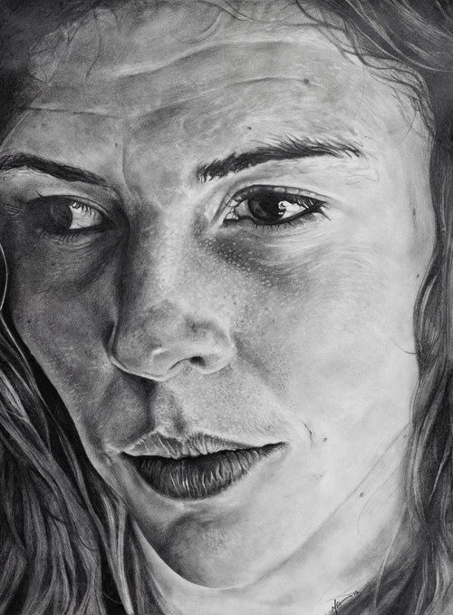"Courtney. 22""x30,"" graphite pencil on paper, 2012, by Megan Van Groll."