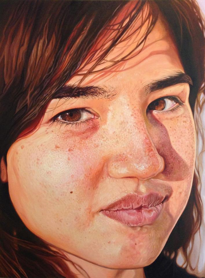 """The finished painting of Michelle. 36""""x48"""" oil on canvas, 2013."""