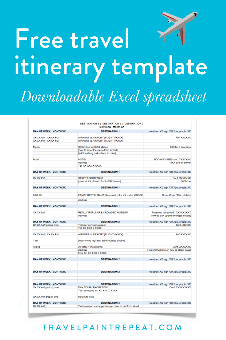 The Travel Itinerary Template I Use To Plan All My Trips Free Download Travel Paint Repeat