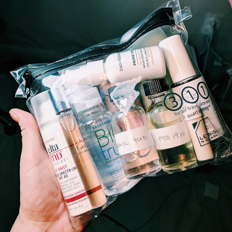 How to pack a TSA friendly liquid bag for a long trip