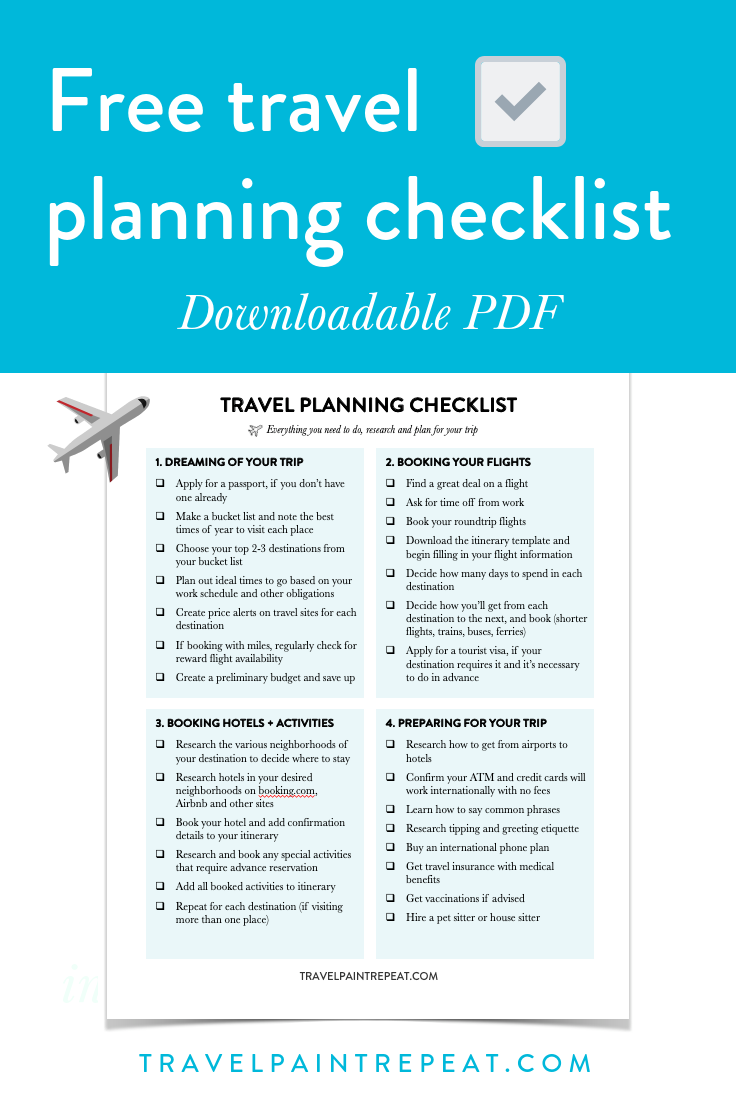 Free travel planning checklist