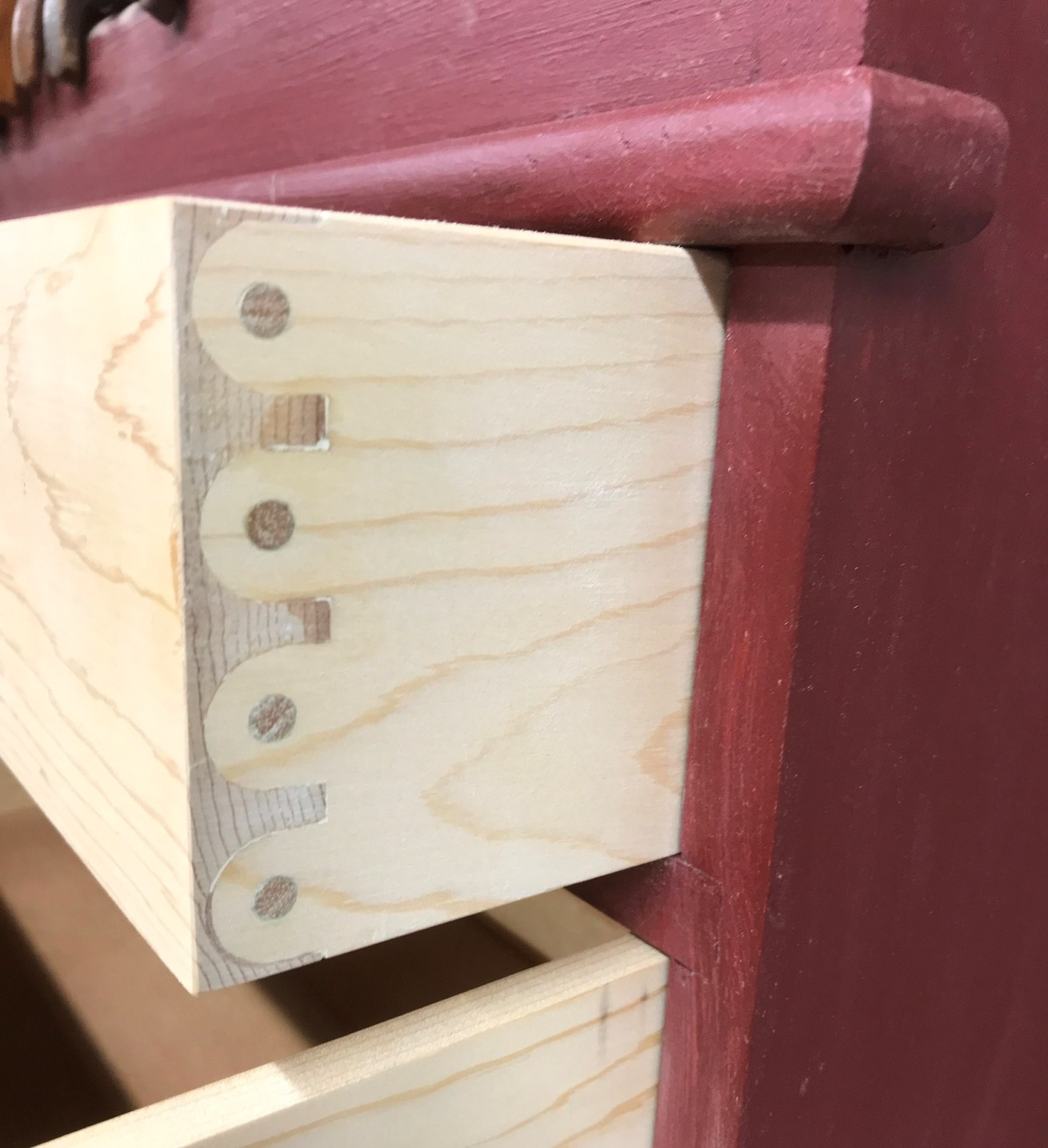 The Knapp or pin-and-cove drawer joint