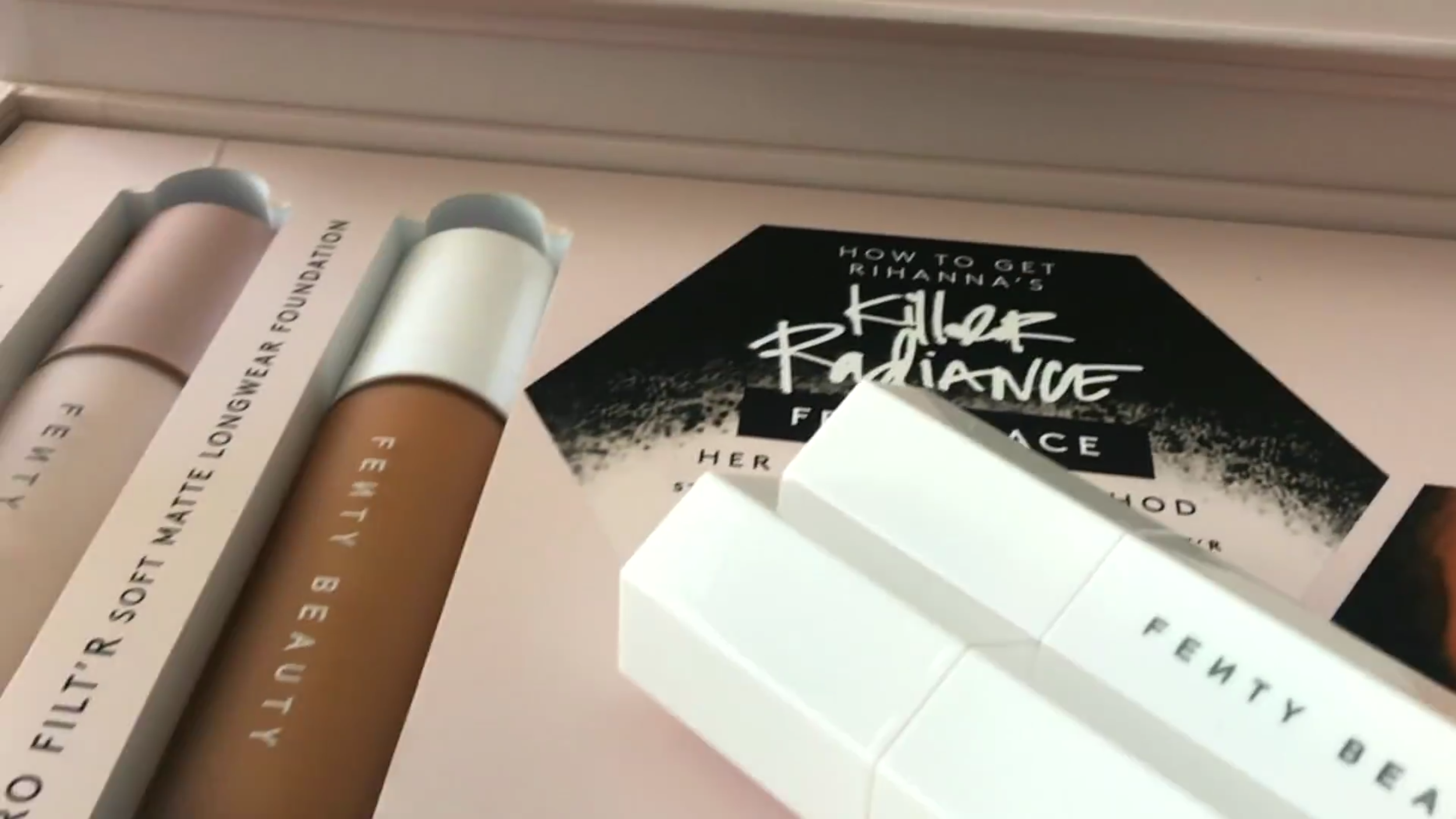 The PRO FILT'R foundation has a more watery consistency of base most foundation reviewers via their YouTube tutorials described but they were always pleased with the sheer and medium coverage with only a few pumps of the Fenty Beauty Pro Filter which is very exciting when thinking of the fact that this is only the beginning for the makeup line. Also said to blend closely to adjacent shades meaning that there will always be shades to even rely on incase your truest shade sells out on shelves. - via Cyclolore Magazine