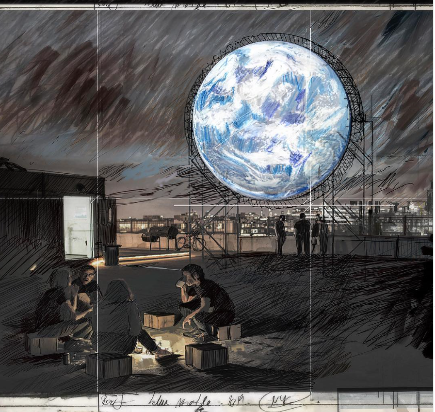 An Authentic Draft of  'Blu Marble'  by  Sebastian Errazuriz