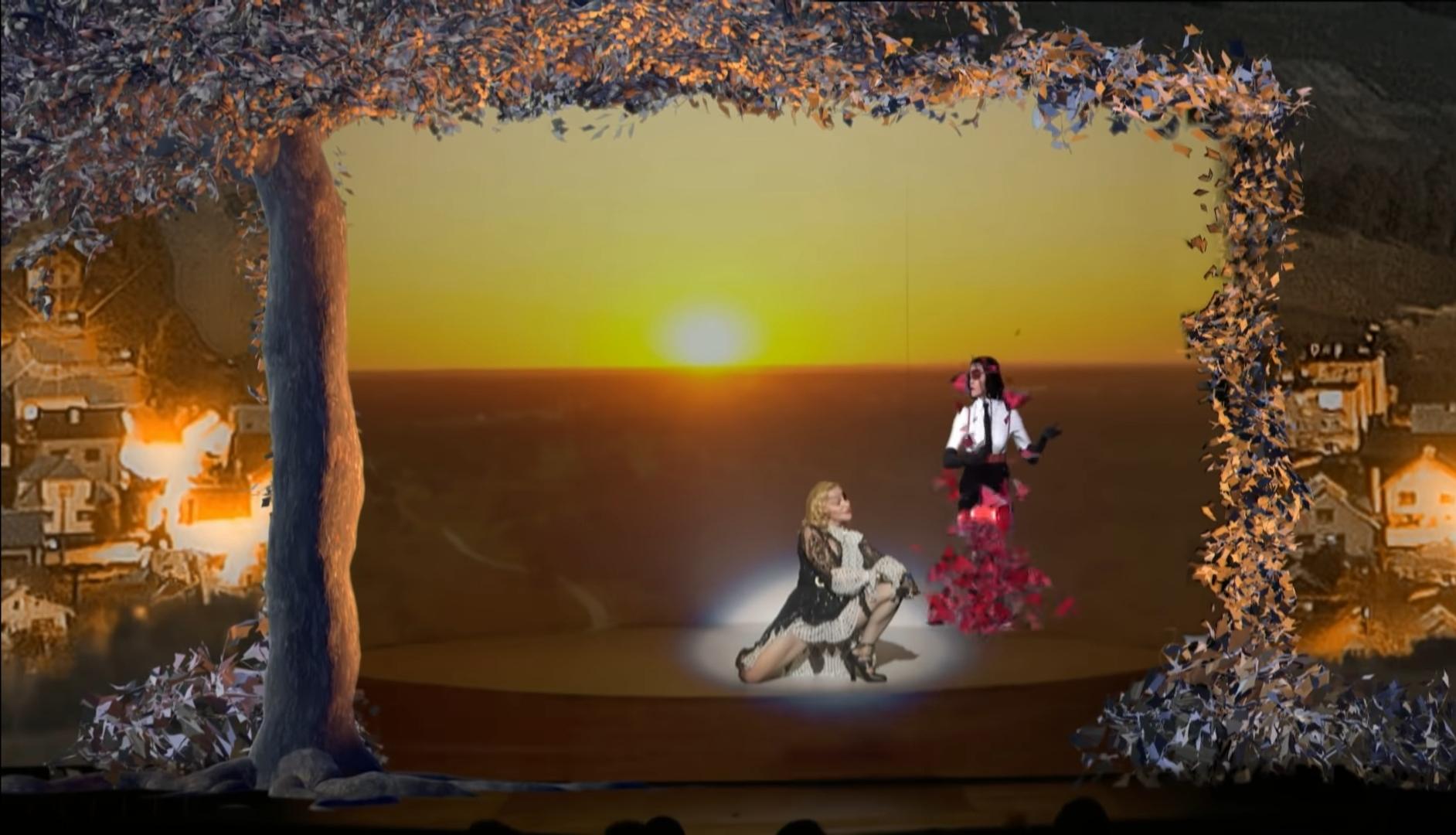 Courtesy of Vevo /Madonna performing  'Medellín' , also virtually dispersing into butterflies.