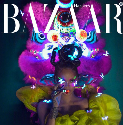 Courtesy of Twitter / @Rihanna . @yusefhairnyc  coming through with this hair for  #harpersbazaarchina  shot by  @Chenmaner
