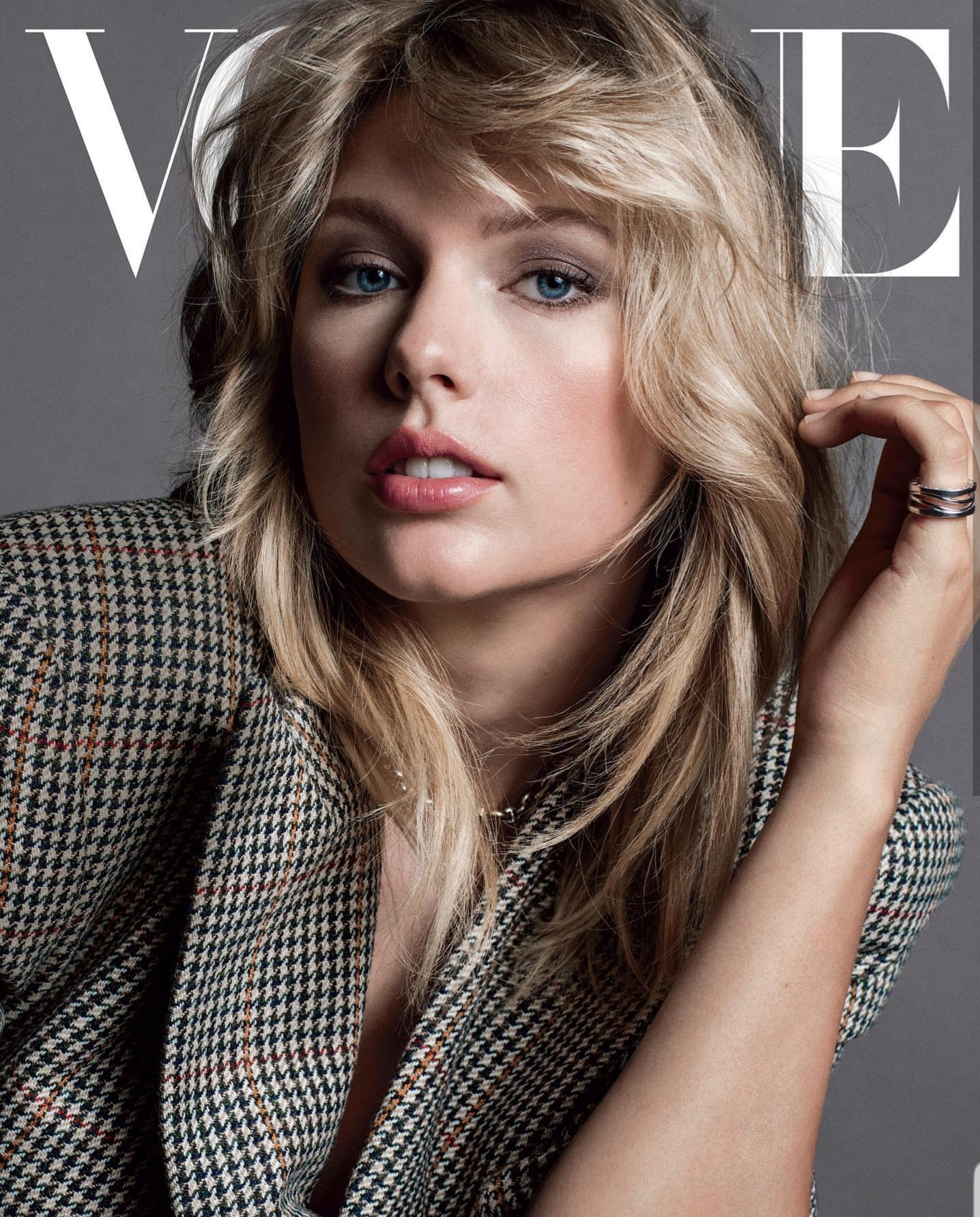 """Taylor's Vogue spread. (Photograph: Inez and Vindooh ) / Courtesy of Instagram @TaylorSwift """"Wanted to thank  @abbyaguirre  for writing such a thoughtful piece and for diving into my pastel cryptic world of hints, Easter eggs, and numerology. We also talked about sexism, equality, and all things Lover. I ate an entire cheese plate by myself. On stands soon-ish."""""""